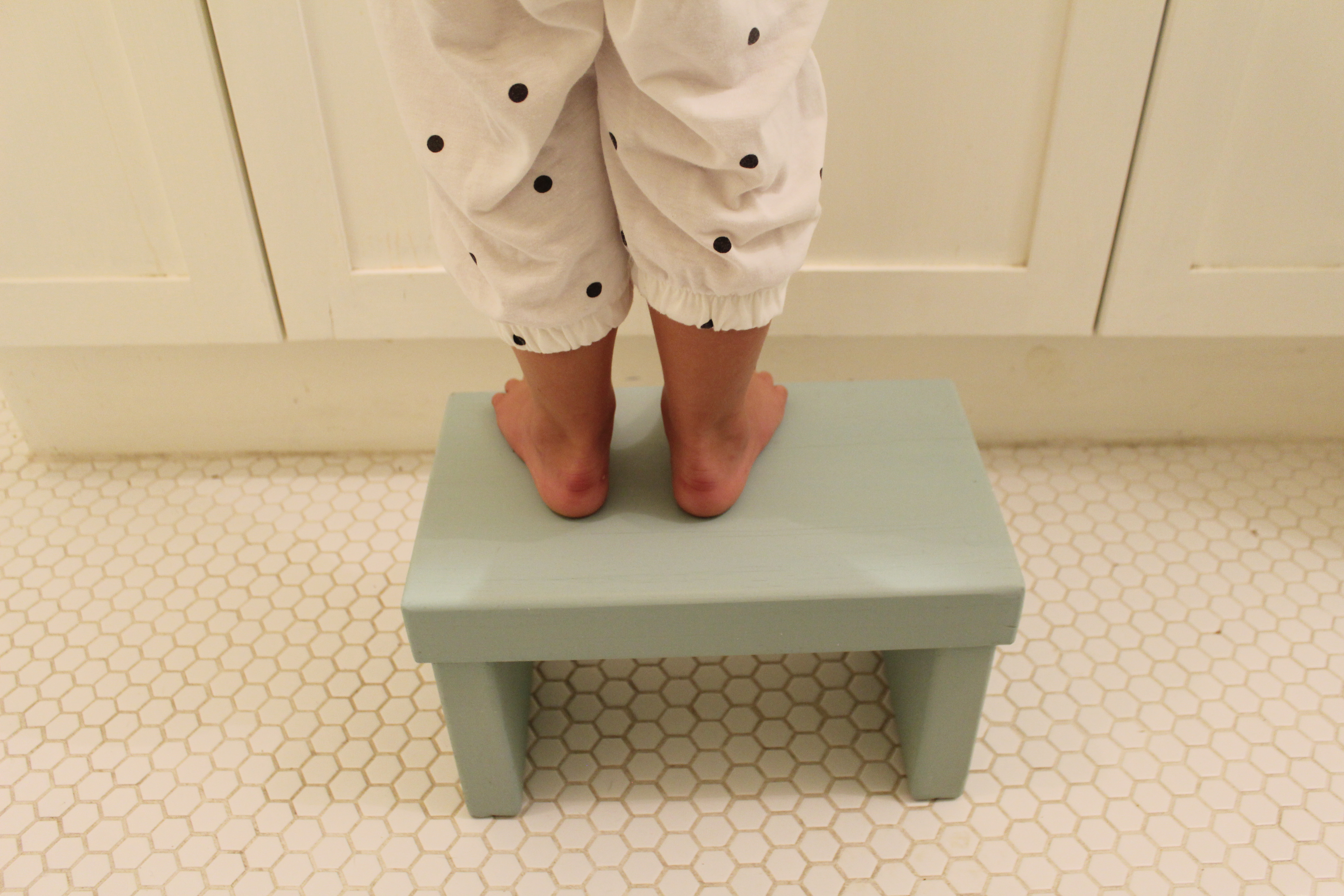 The Nice Bench helps kids reach in the bathroom